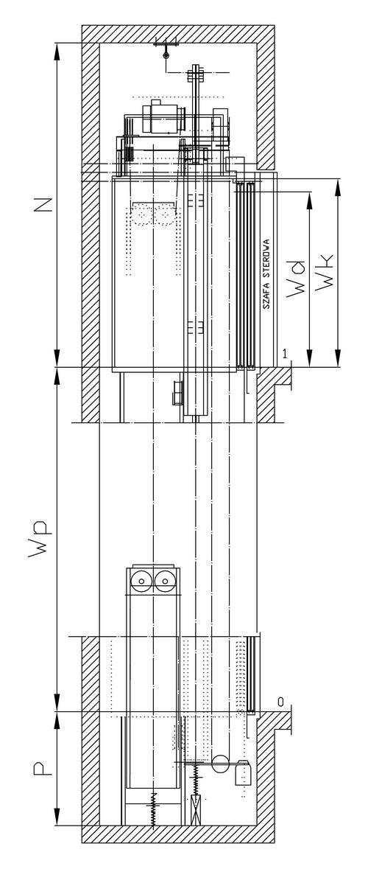 Przekrój dźwigu osobowego z napędem elektrycznym NEV-7